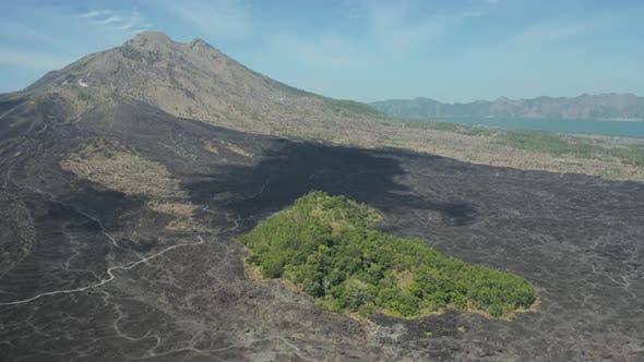 Thumbnail for Aerial drone view of a volcanic landscape