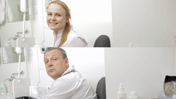 Thumbnail for Man and Woman Doctor With Stethoscope Looking At Camera