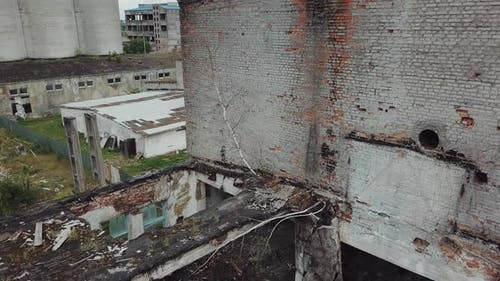 Aerial View of an Old Abandoned Industrial Building