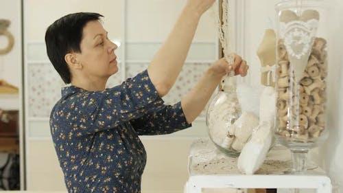 Woman choosing lace