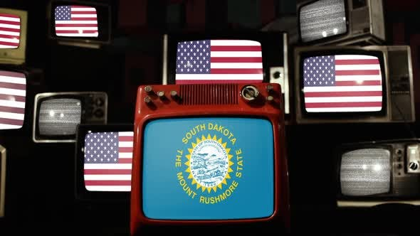 Thumbnail for Flag of South Dakota and US Flags on Retro TVs.
