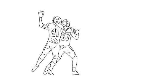 Joueurs de football américains dessinés à la main attraper la balle sur fond transparent