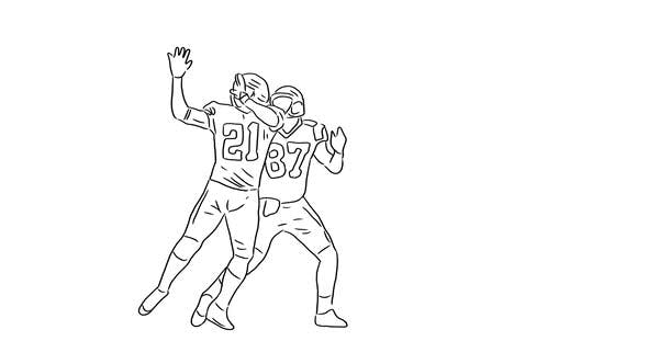 Thumbnail for Hand Drawn American Football Players Catching The Ball on Transparent Background