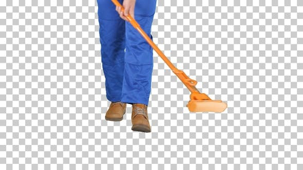 Cleaning Floor With Mop, Alpha Channel