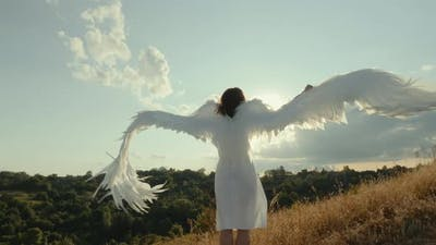 Angel with Outstretched Wings Looks at the Sun
