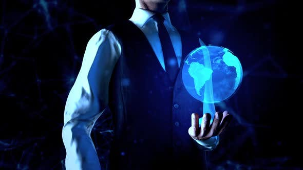 Thumbnail for Businessman Holds Earth Globe Or World Hologram In  Left Hand With Plexus Network Connection Lines