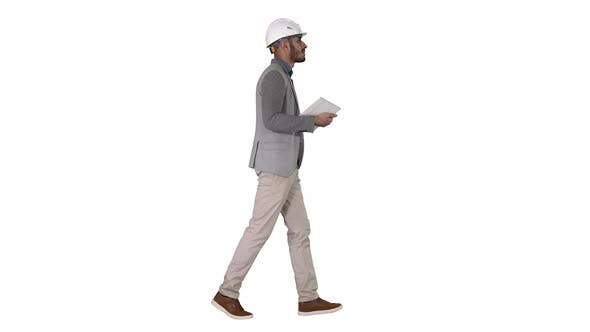 Thumbnail for Architect Walking with Tablet and Checking What Is Built on White Background.