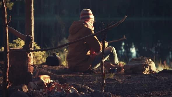 Thumbnail for Female Traveler Camping Near The Lake