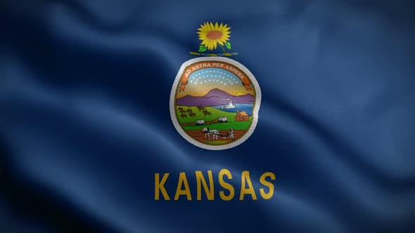 Kansas State Flag Blowing In Wind