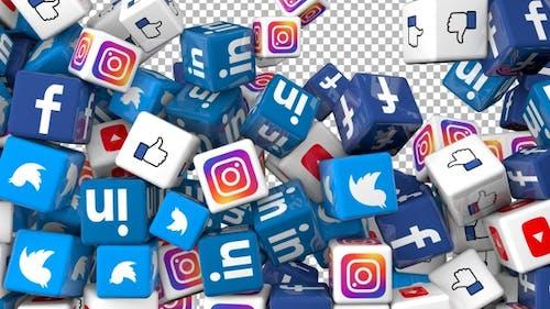 Social Media Icons Transition - Facebook, Twitter, Youtube, Instagram, Linkedin, Like