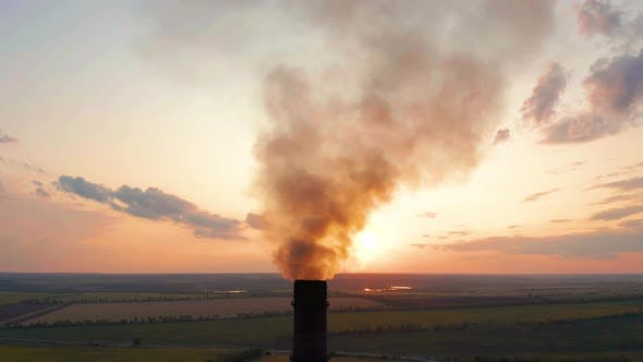 Thumbnail for Aerial View. Pipes Throwing Smoke in the Sky. Air Pollution From Industrial Plants