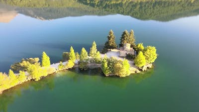 Small island into a lake