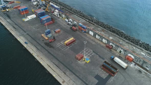 Thumbnail for Aerial View Of Cargo Truck Entering Port Dock
