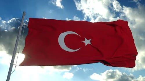 Turkey Flag Blowing Wind Blue Sky Background