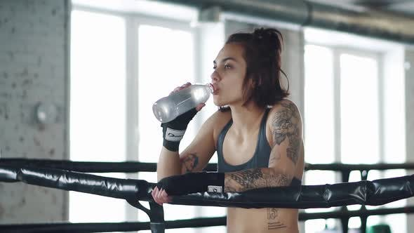 Thumbnail for Girl Drinks Water in the Gym. Girl Resting After Workout in the Boxing Ring
