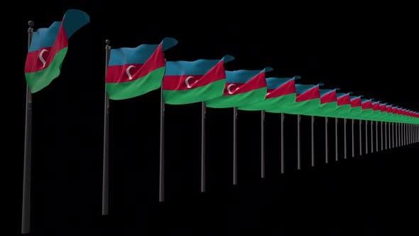 Row Of Azerbaijan Flags With Alpha 2K