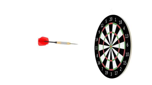 Thumbnail for Rotating Dart Arrow Hitting Center of the Target Dartboard Slow Motion