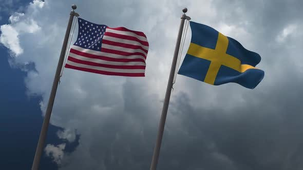Waving Flags Of The United States And The Sweden 2K