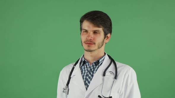 Thumbnail for Happy Male Doctor Smiling To the Camera on Chromakey 1080p