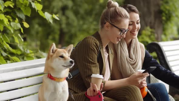Two Female Friends with Their Doggies Outdoors
