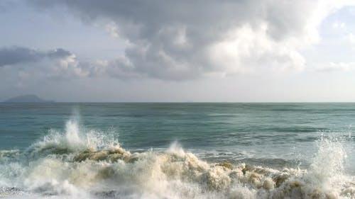 Drone Flight over Tropical Beach Seascape on a Calm Sunny Ocean Day