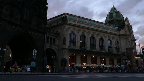Prague City - Night Street - Municipal House