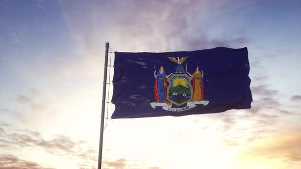 State Flag of New York Waving in the Wind