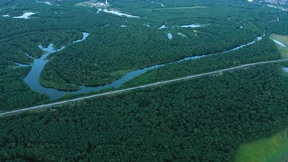 Thumbnail for Aerial View Of Forest With The River And Lakes