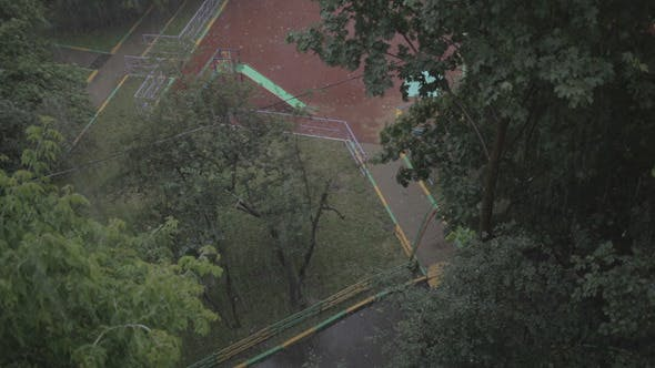 Heavy Rain High Angle View From Window 1