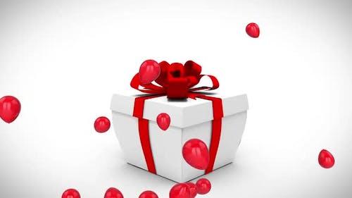 18th birthday gift box and balloons