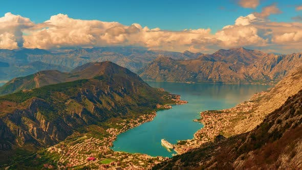 Shot From the Top of the Mountain Over Kotor Montenegro in the Evening