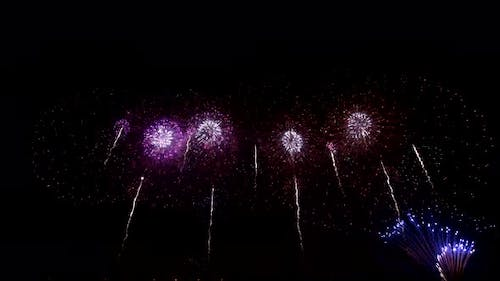Colourful Fireworks in the Night Sky, Isolated on Black Background