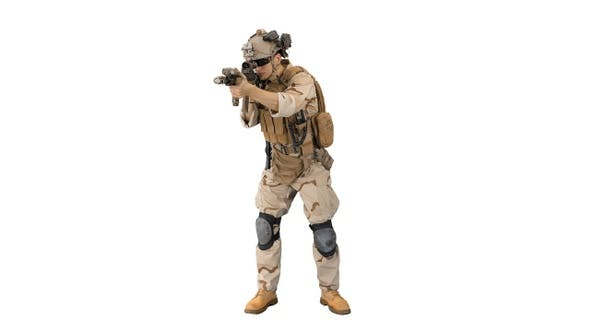 Thumbnail for Army soldier standing his ground aiming with assault rifle