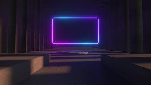 Bright Neon Frame in the Middle of a Stone Concrete Museum