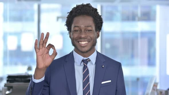 Thumbnail for Cheerful African American Businessman Showing Ok Sign