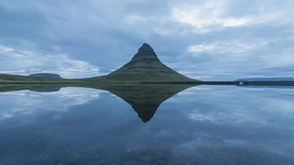 Kirkjufell Mountain and Reflection in Lake. Iceland