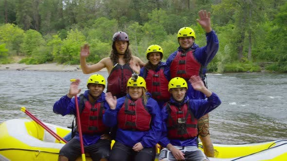 Thumbnail for Group portrait of people white water rafting