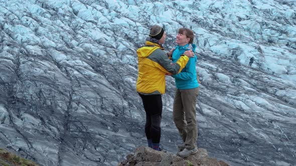 Thumbnail for Tourists on the Background of the Glacier in Iceland