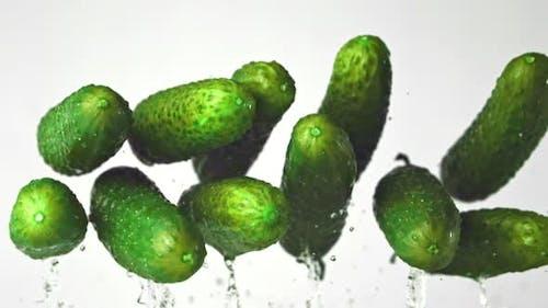 Super Slow Motion Fresh Cucumbers