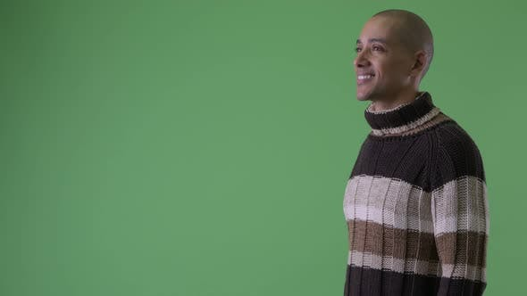 Thumbnail for Profile View of Happy Bald Multi Ethnic Man Thinking Ready for Winter