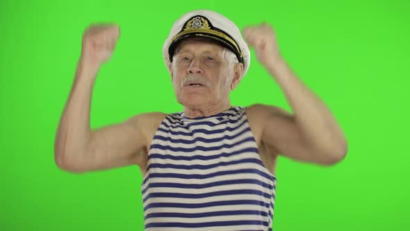 Thumbnail for Elderly Sailor Man Funny Dances. Old Sailorman on Chroma Key Background
