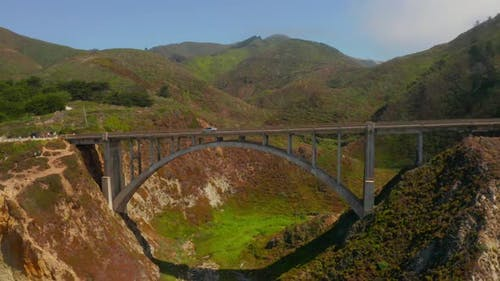 Arial View of the California Bixby Bridge in Big Sur in the Monterey County