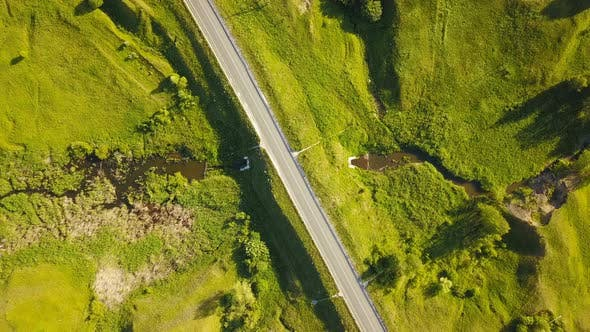 Thumbnail for Car On Summer Countryside Road From Above