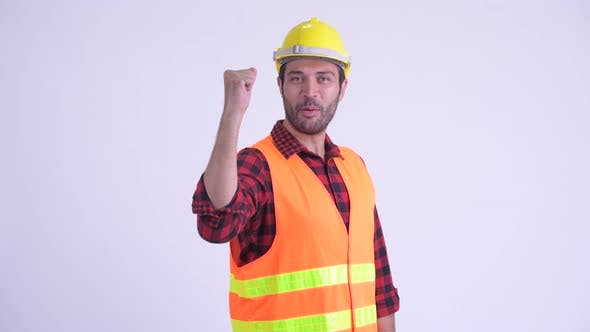 Cover Image for Happy Bearded Persian Man Construction Worker with Fist Raised
