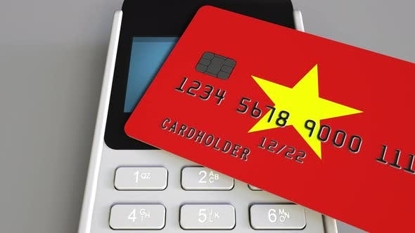 Thumbnail for Payment Terminal with Credit Card with Flag of Vietnam