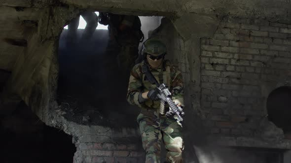 Thumbnail for Military Team Entering Abandoned Building