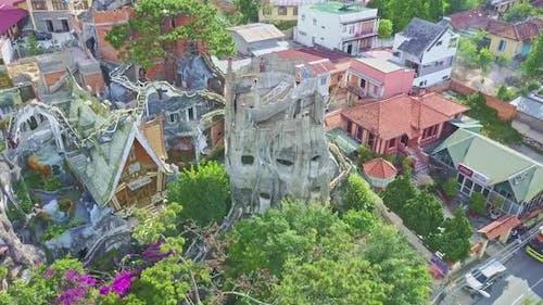 Camera Flies Around Surrealistic Design Crazy House Masterpiece