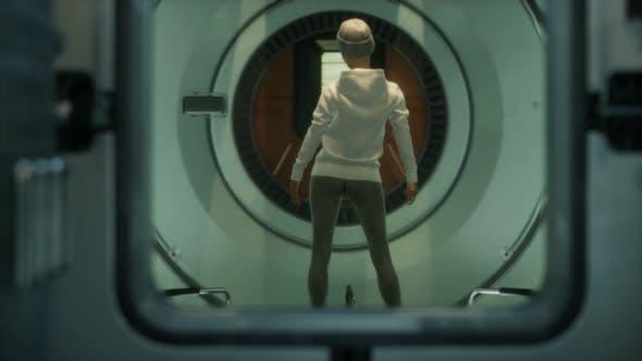 Woman Astronaut on a Futuristic Spaceship