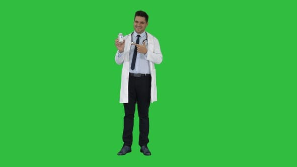 Thumbnail for Pharmacist Man Looking Camera Posing and Showing White