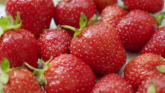 Thumbnail for Fresh Strawberries, Rotating Slowly. Rotate Shot White Backgraund